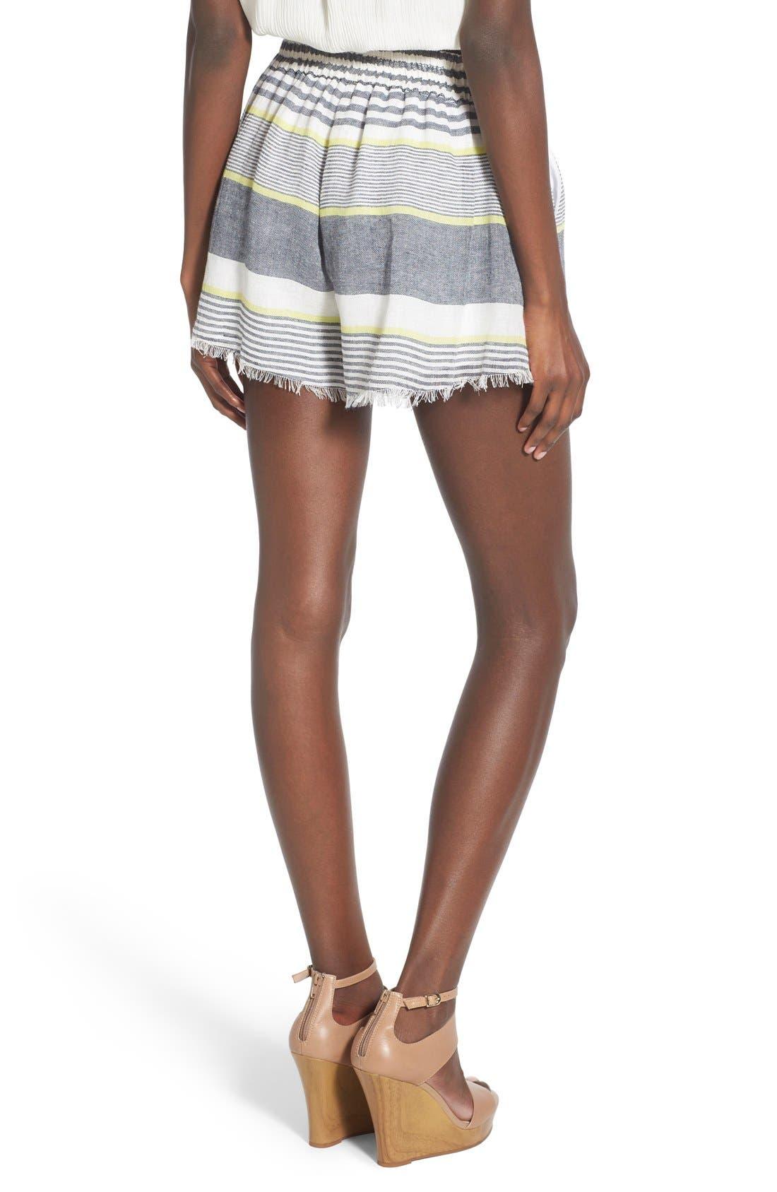 ASTR 'Ibiza' Linen & Cotton Shorts,                             Alternate thumbnail 2, color,                             Lime Stripe