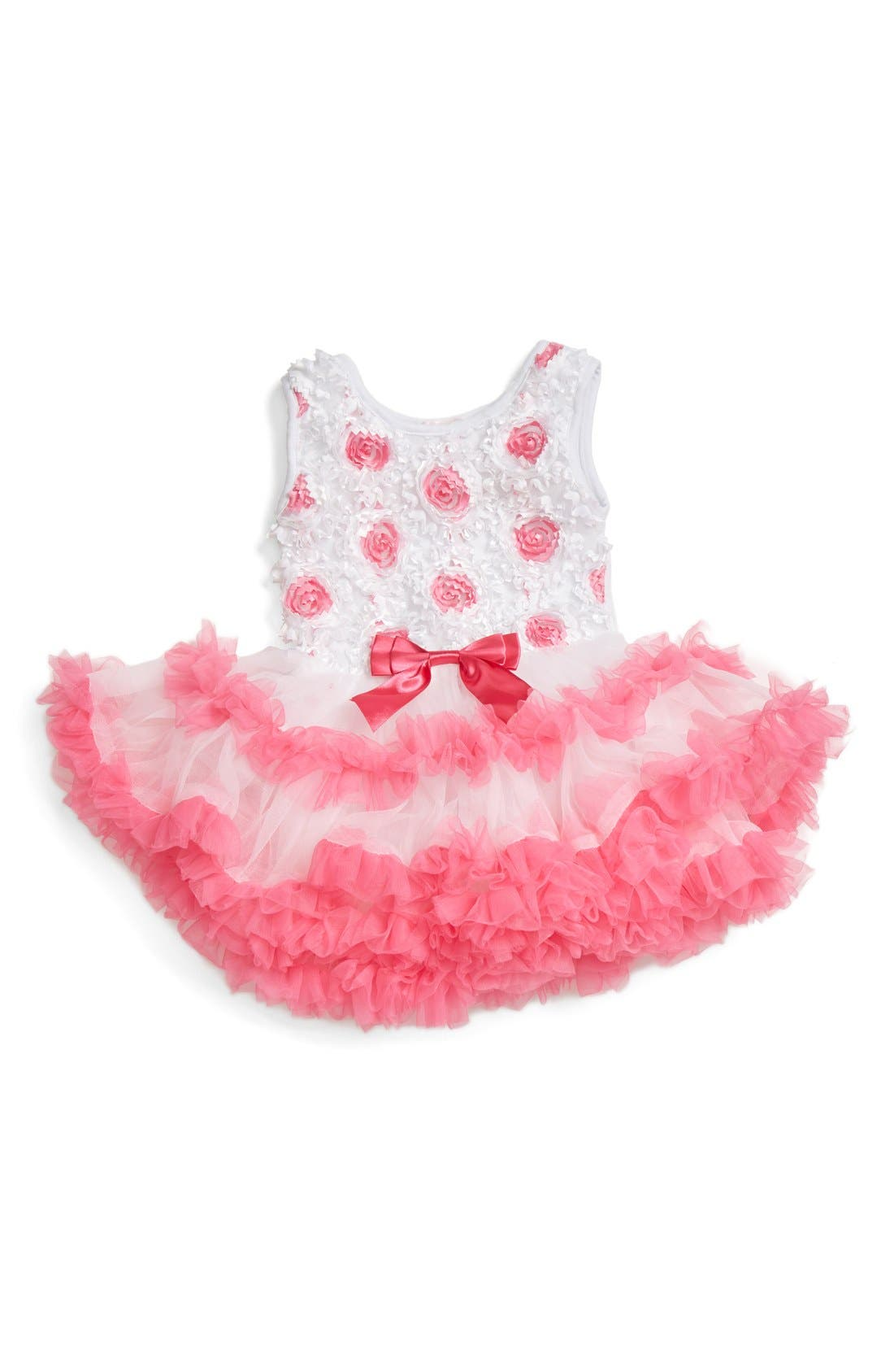 Alternate Image 1 Selected - Popatu Ribbon Rosette Flower Pettidress (Baby Girls)