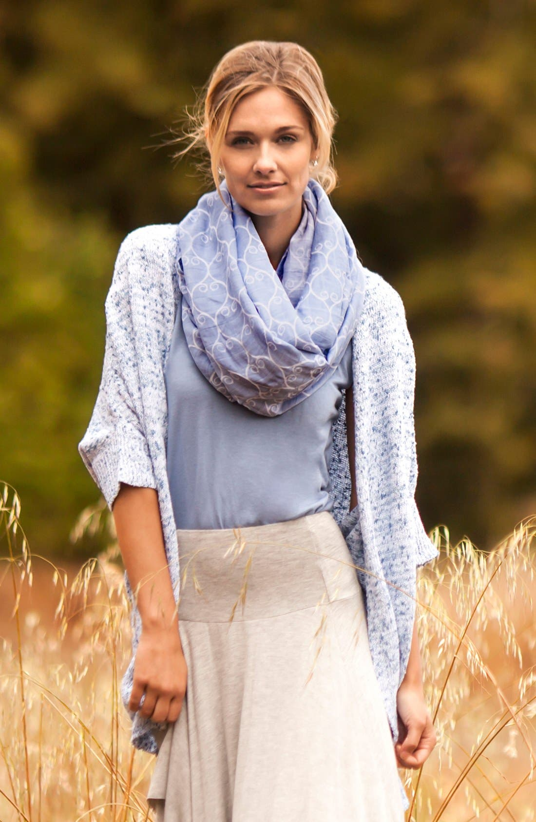 Muslin Infinity Nursing Scarf,                             Alternate thumbnail 3, color,                             Blue/ White