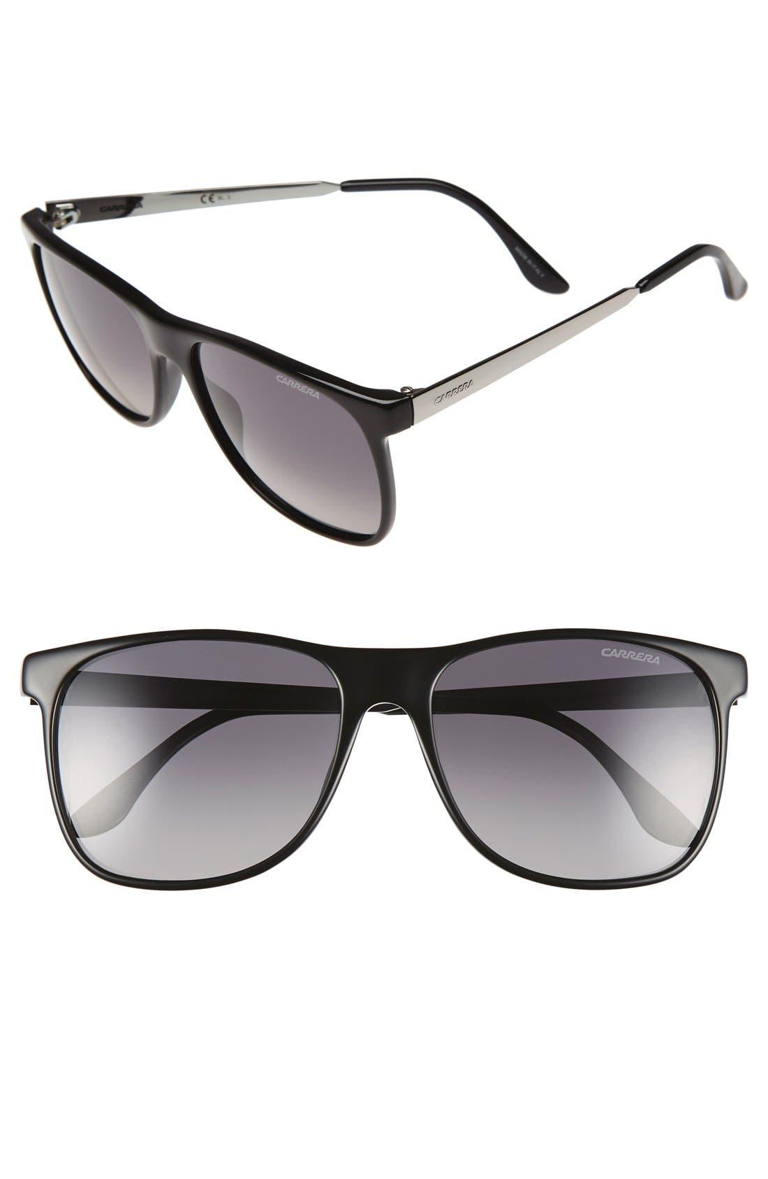 57mm Polarized Sunglasses,                         Main,                         color, Black/ Grey /Gunmetal