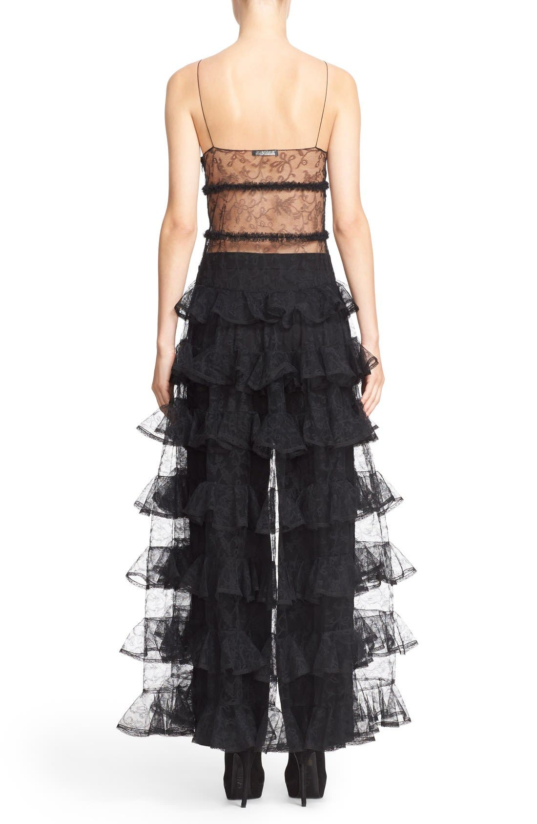 Alternate Image 2  - Alexander McQueen High/Low Dove Tulle Lace Top