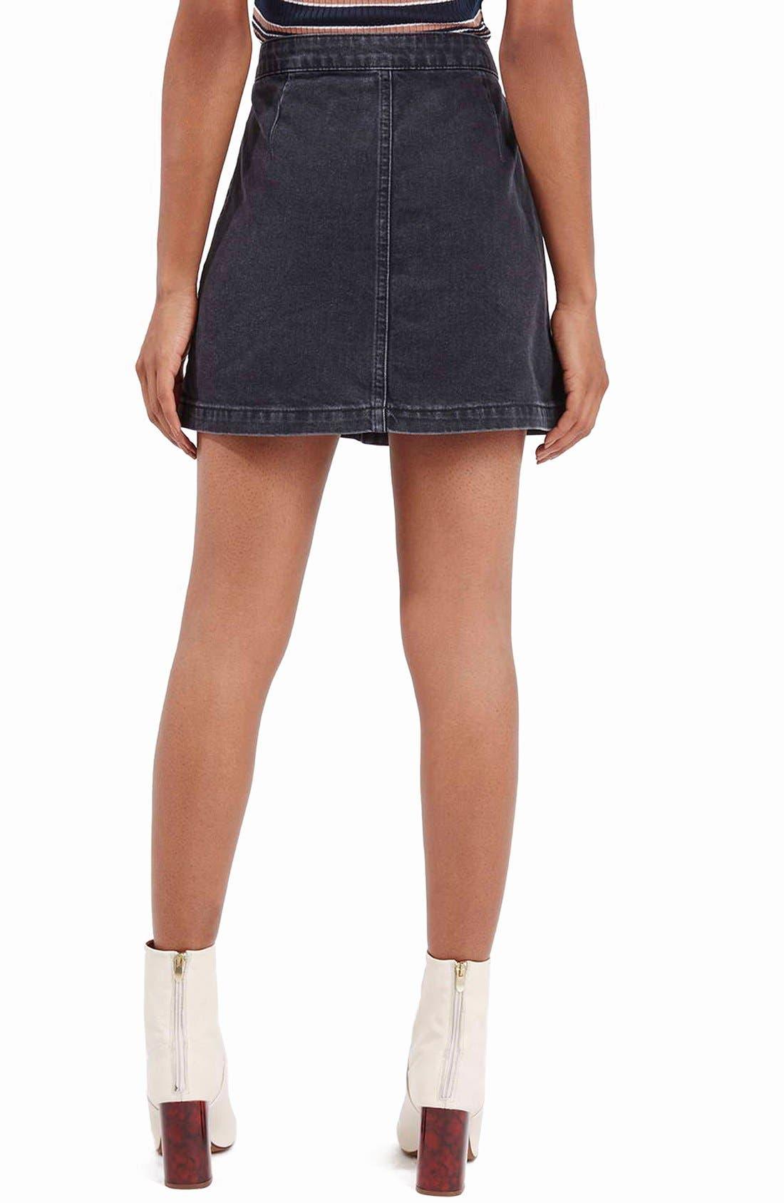 Alternate Image 3  - Topshop Button Front Denim A-Line Skirt