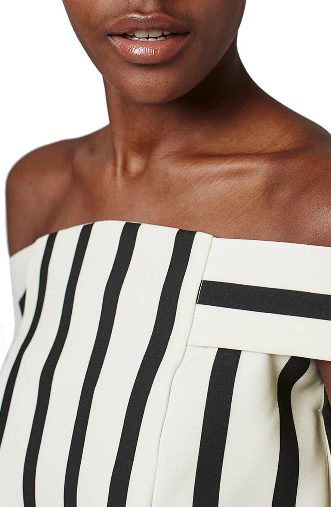 Alternate Image 5  - Topshop Stripe Off the Shoulder Romper (Regular & Petite)
