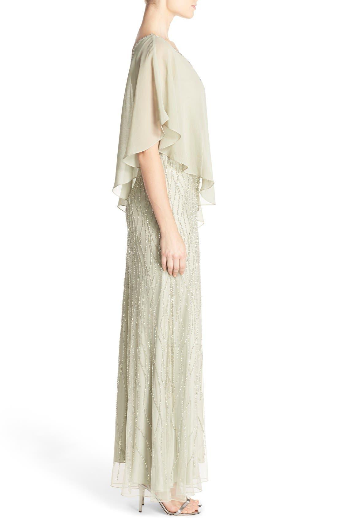 Alternate Image 3  - J Kara Chiffon Overlay Beaded Gown