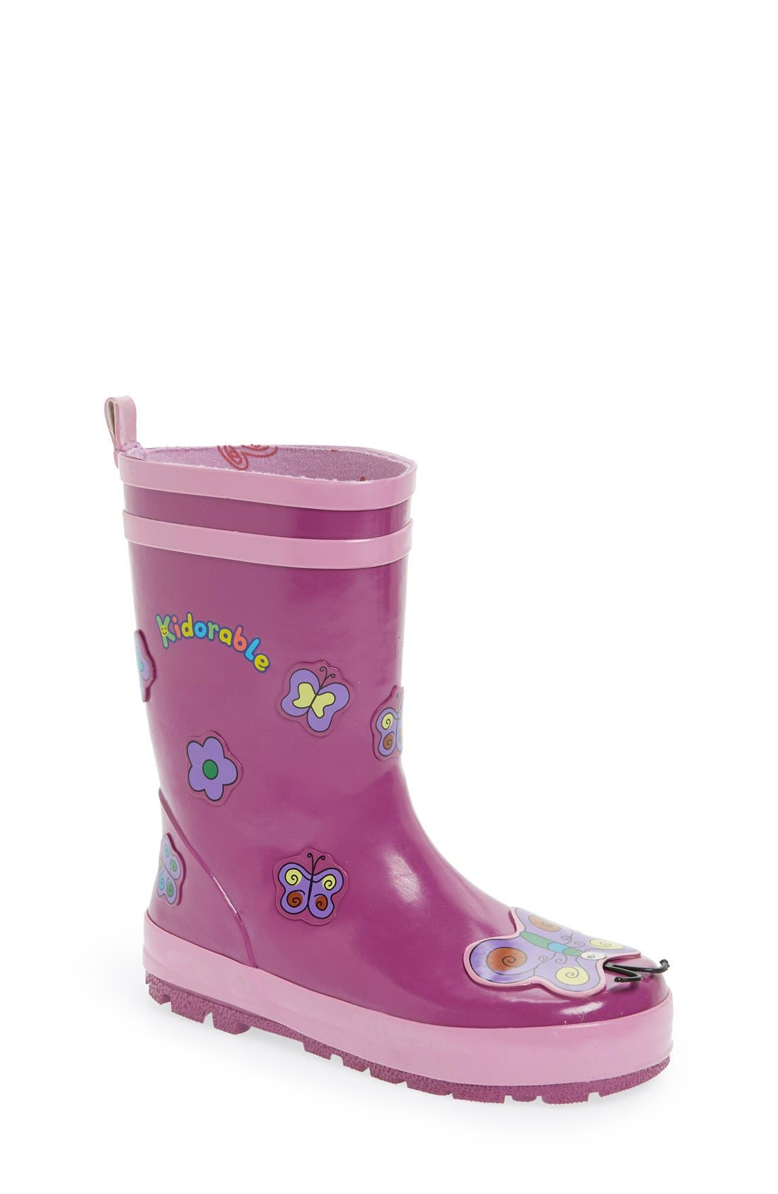 'Butterfly' Waterproof Rain Boot,                             Main thumbnail 1, color,                             Purple