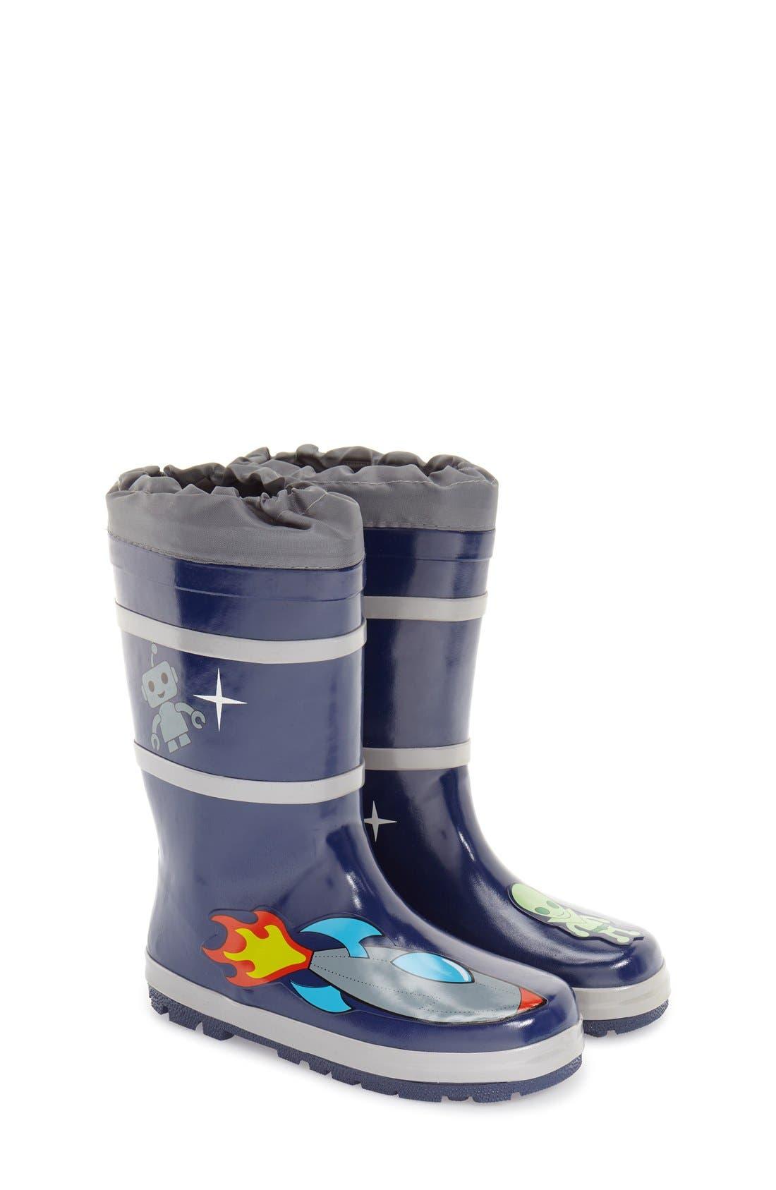 'Space Hero' Waterproof Rain Boot,                         Main,                         color, Blue