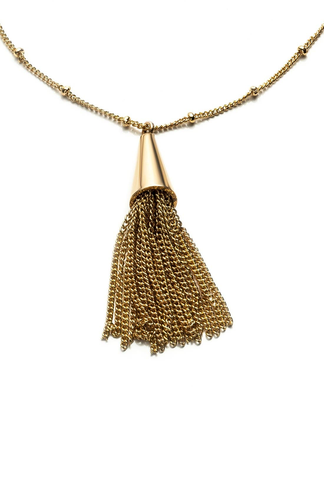 Small Chain Tassel Pendant Necklace,                             Alternate thumbnail 3, color,                             Shiny Gold