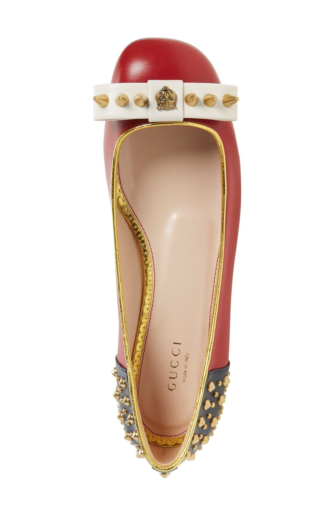 Alternate Image 3  - Gucci 'Lexi' Studded Square Toe Flat (Women)