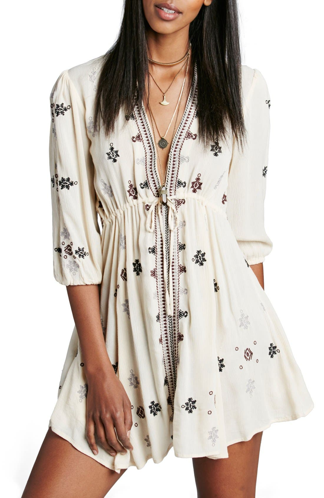 Main Image - Free People 'Star Gazer' Embroidered Tunic Dress