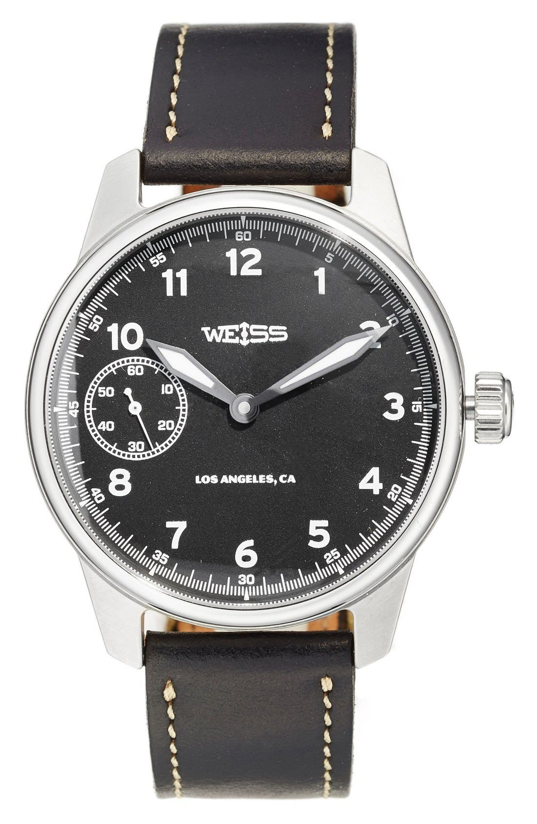 'Standard Issue' Leather Strap Watch, 42mm,                         Main,                         color, Black/ Black