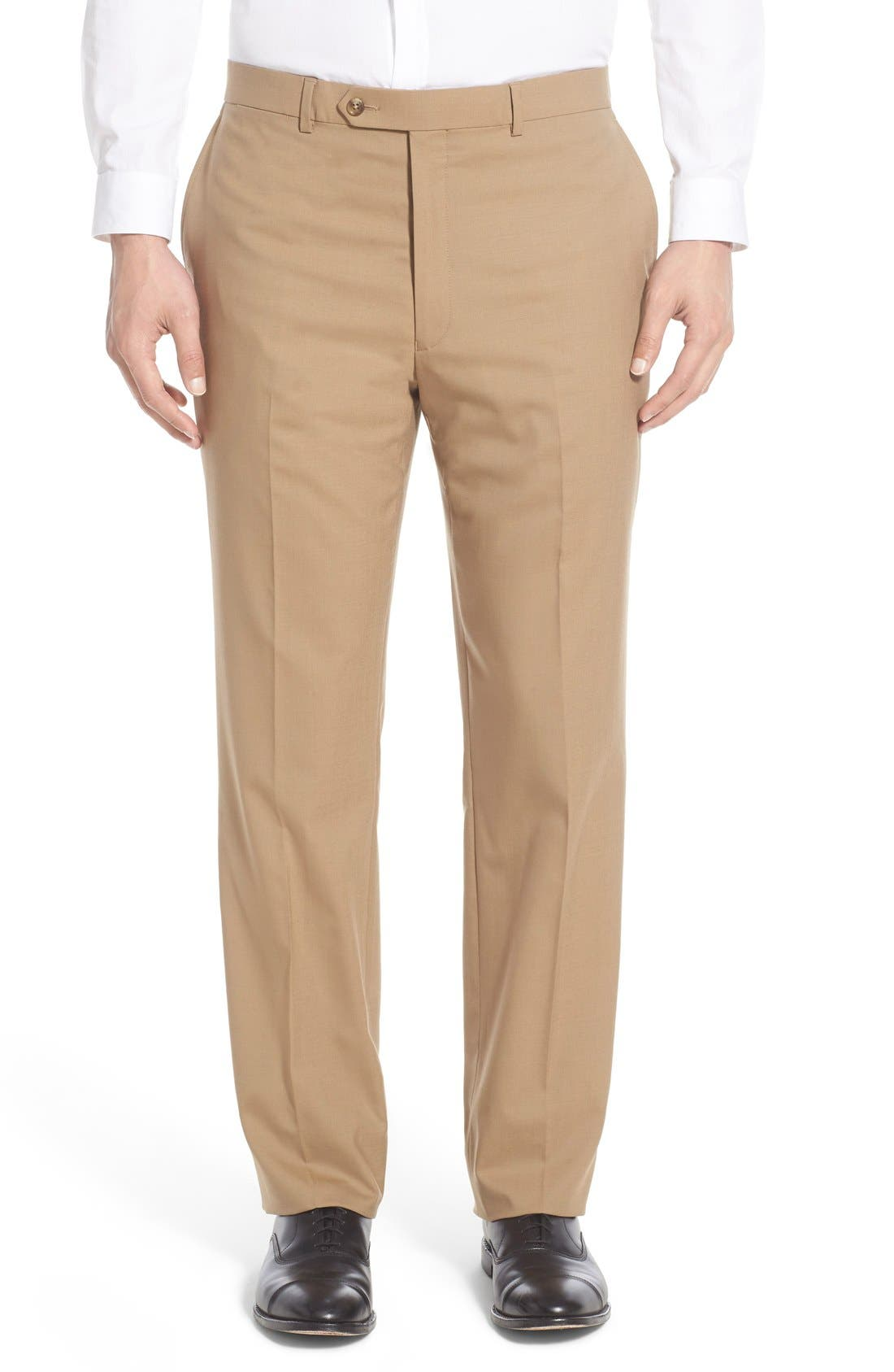 Flat Front Solid Stretch Wool Trousers,                         Main,                         color, Tan Solid