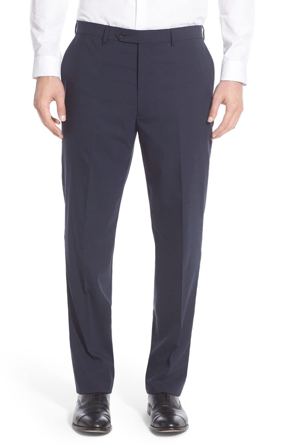 Flat Front Solid Stretch Wool Trousers,                             Main thumbnail 1, color,                             Navy Solid