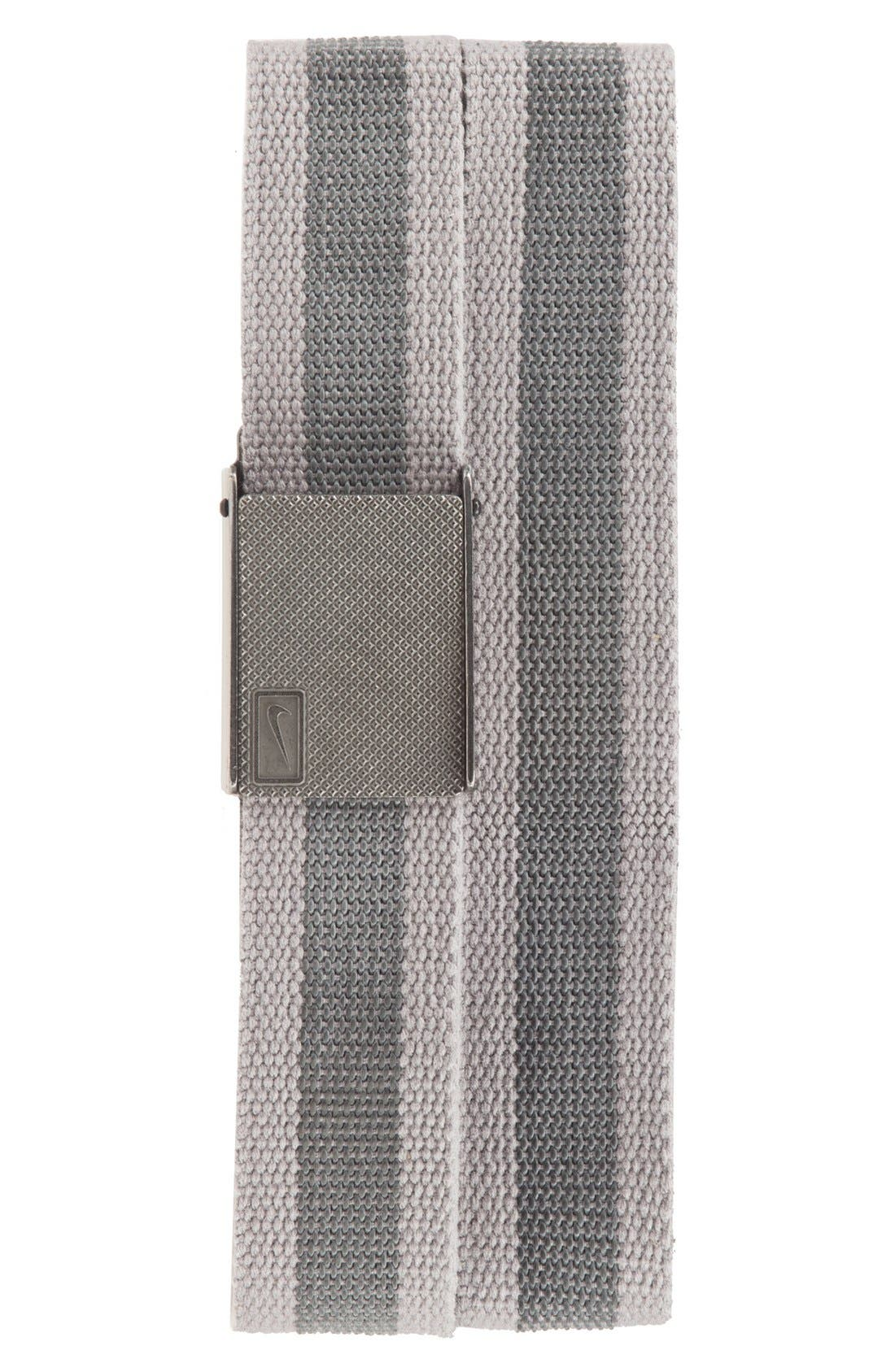 Reversible Web Belt,                             Main thumbnail 1, color,                             Light Charcoal/ Stripe