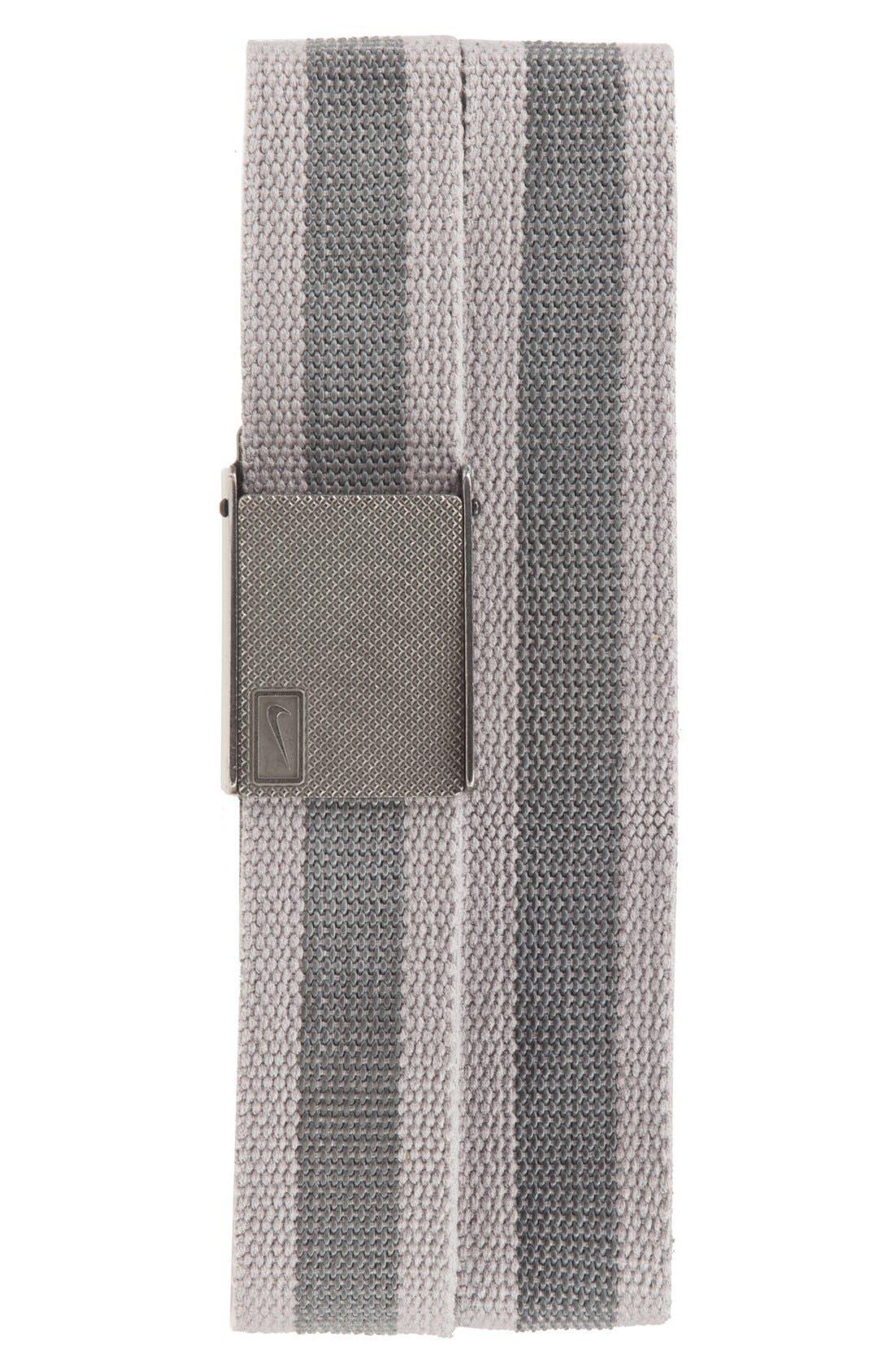 Reversible Web Belt,                         Main,                         color, Light Charcoal/ Stripe