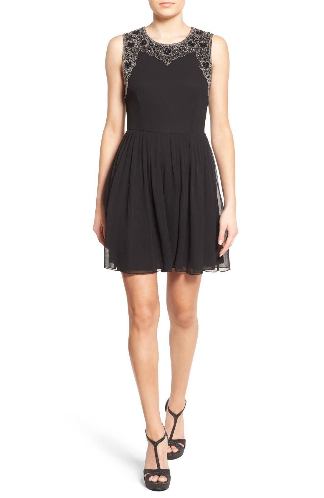 Main Image - Lace & Beads 'Becky' Embellished Skater Dress