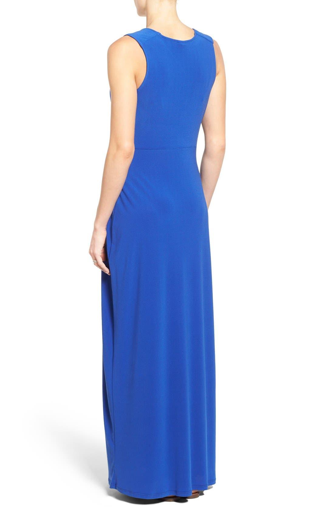 'Isabella' V-Neck Maternity Maxi Dress,                             Alternate thumbnail 2, color,                             Cobalt Crepe