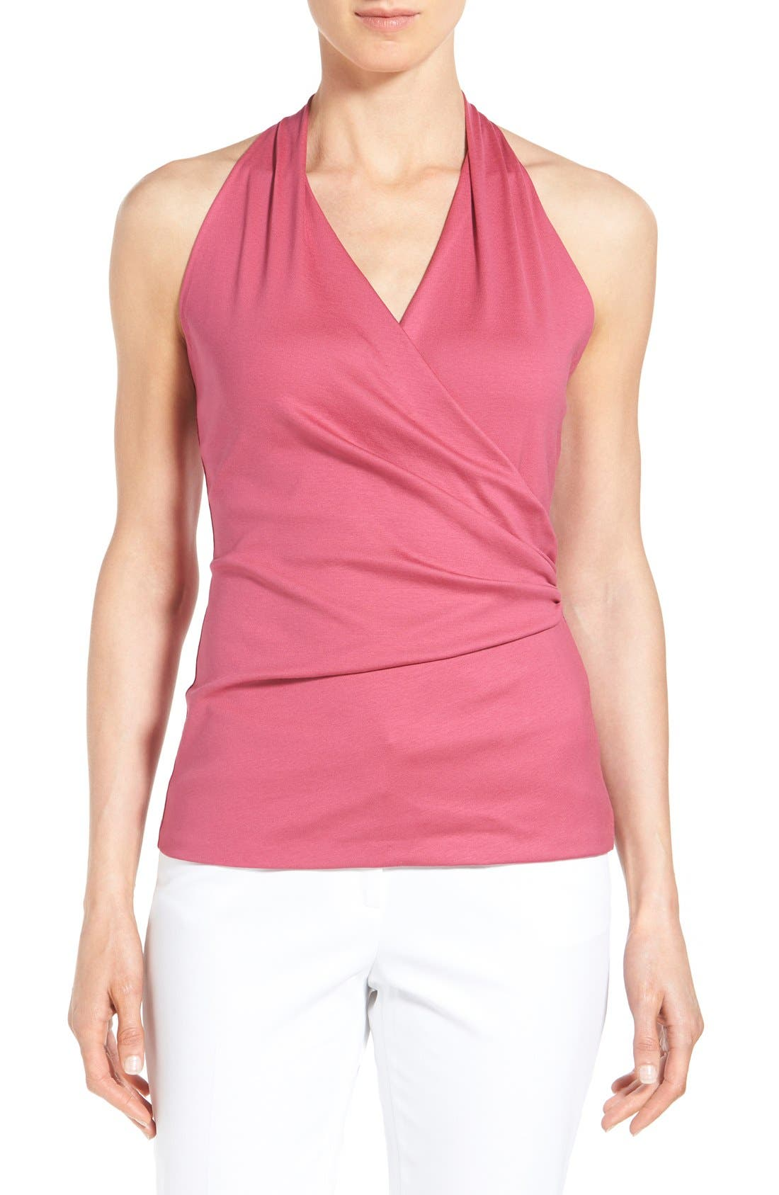 Alternate Image 1 Selected - Lafayette 148 New York Shirred Faux Wrap Top (Regular & Petite)