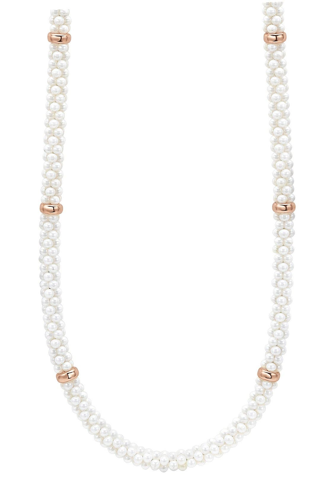 'White Caviar' 5mm Beaded Station Necklace,                             Alternate thumbnail 2, color,                             White Caviar/ Rose Gold