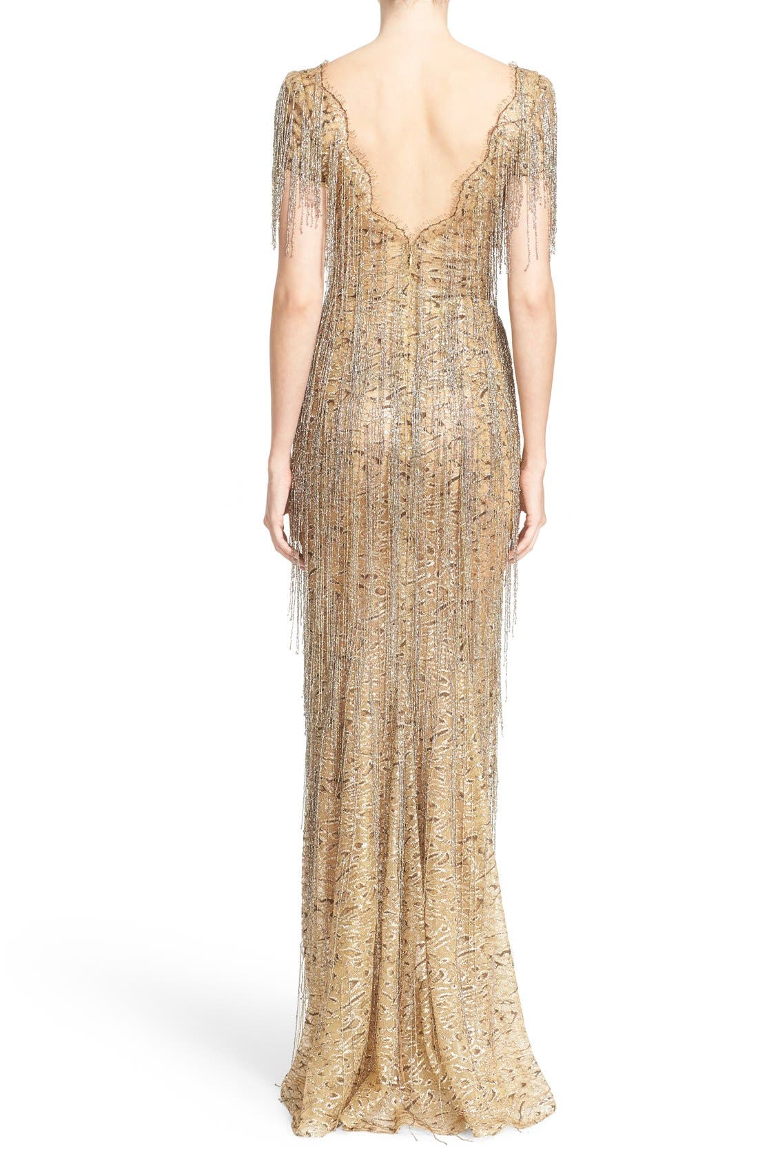 Alternate Image 2  - Marchesa Bugle Bead Fringe Leopard Lace Column Gown