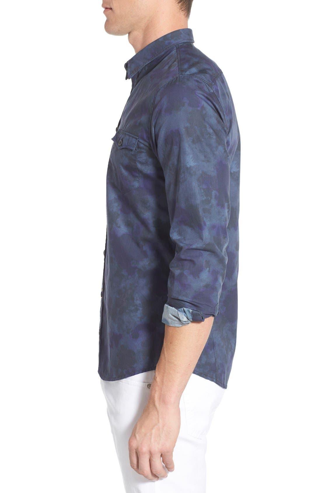 Edoslime Extra Trim Fit Print Woven Shirt,                             Alternate thumbnail 3, color,                             Dark Blue