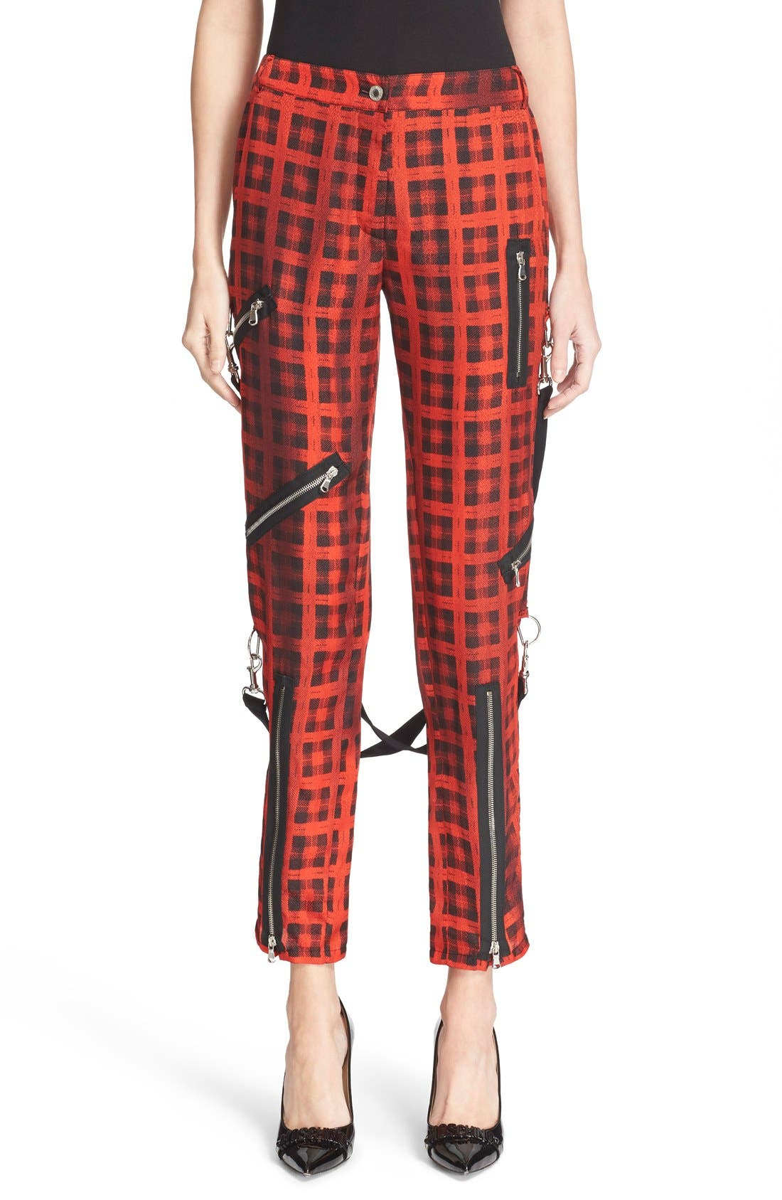 Alternate Image 1 Selected - Moschino Plaid Print Ankle Pants with Detachable Suspenders