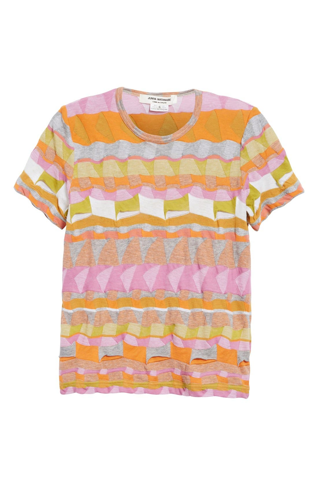 Multi Border Jacquard Top,                             Alternate thumbnail 4, color,                             Pink/ Orange