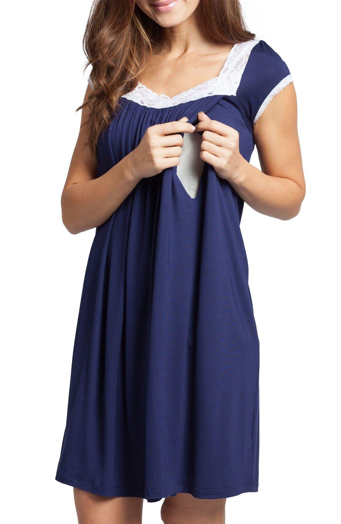'The Lace' Maternity/Nursing Nightgown,                             Alternate thumbnail 3, color,                             Estate Blue