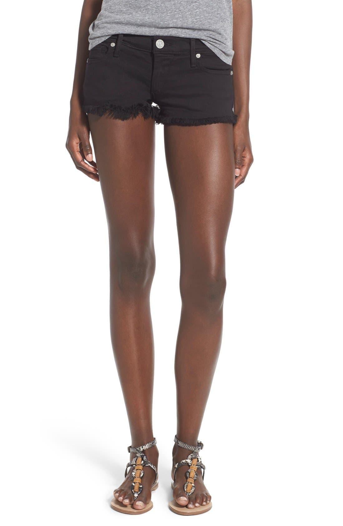 Alternate Image 1 Selected - True Religion Brand Jeans Joey Flap Pocket Cutoff Denim Shorts (Jet Black)