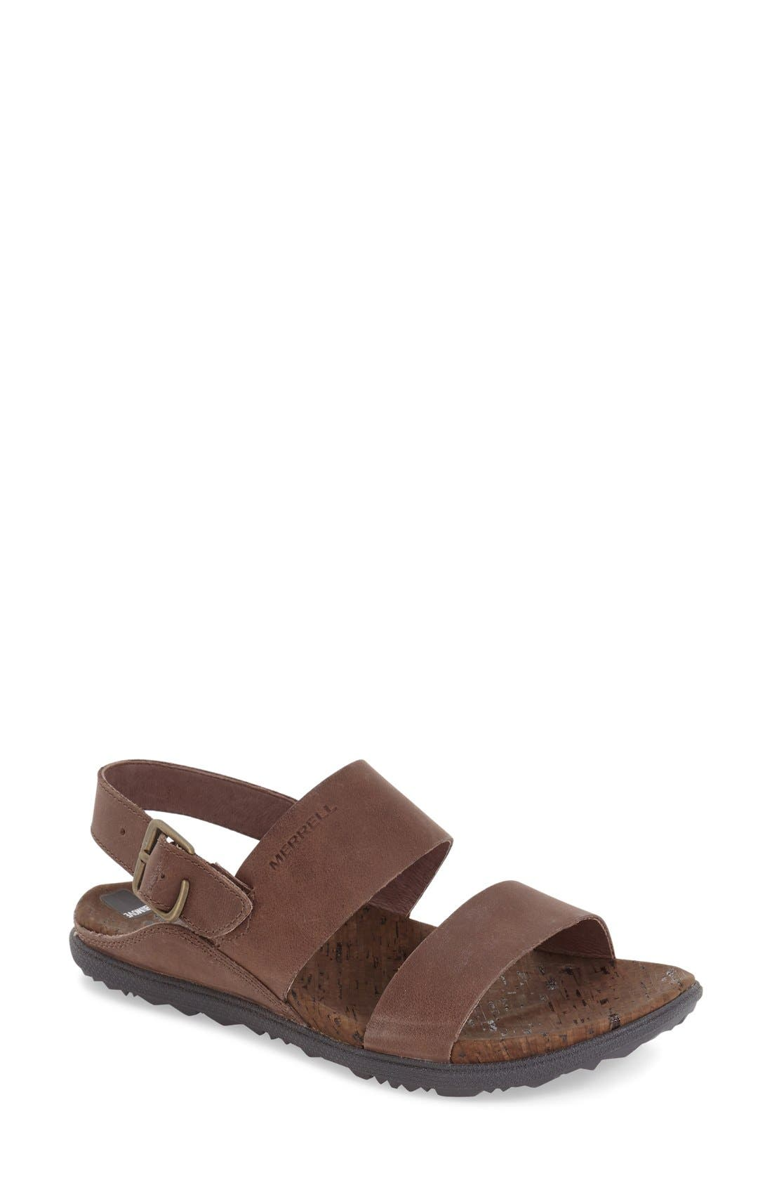 'Around Town' Slingback Sandal,                             Main thumbnail 1, color,                             Brown Leather