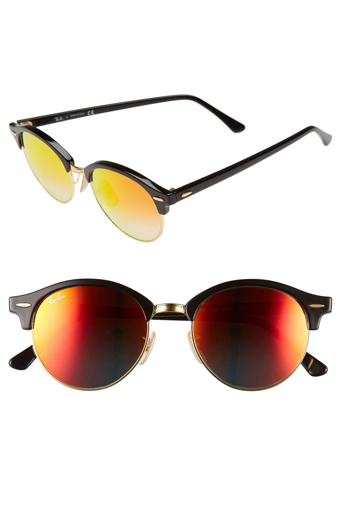 'Club' 51mm Sunglasses,                         Main,                         color, Shiny Black