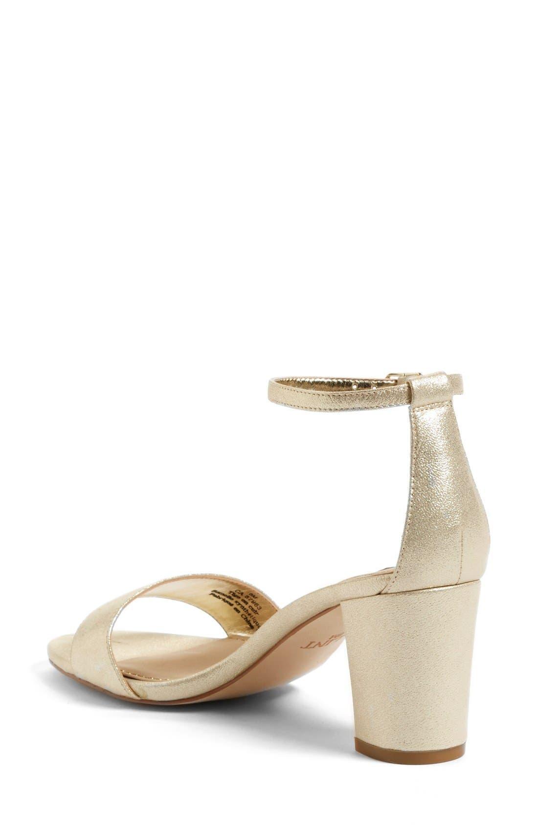 'Lana' Block Heel Ankle Strap Sandal,                             Alternate thumbnail 2, color,                             Platino Metallic Suede
