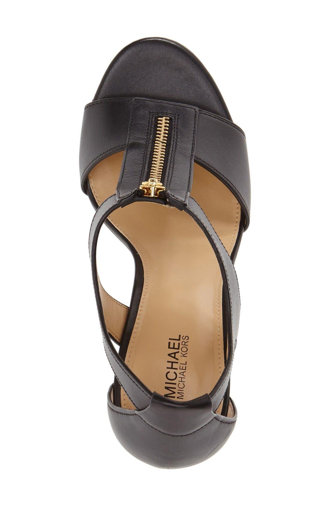 'Berkley' T-Strap Sandal,                             Alternate thumbnail 3, color,                             Black