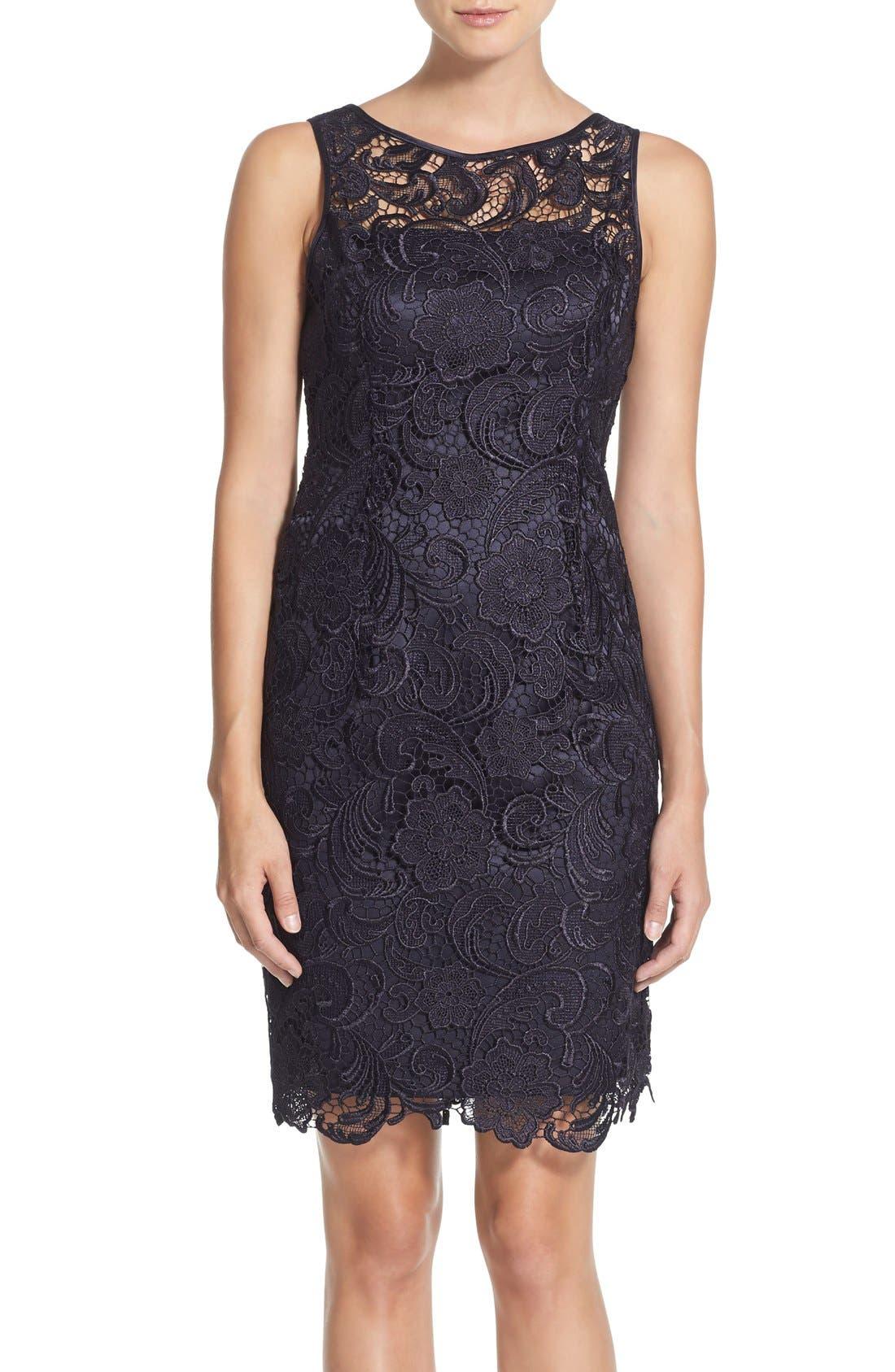 Illusion Bodice Lace Sheath Dress,                             Main thumbnail 1, color,                             Navy