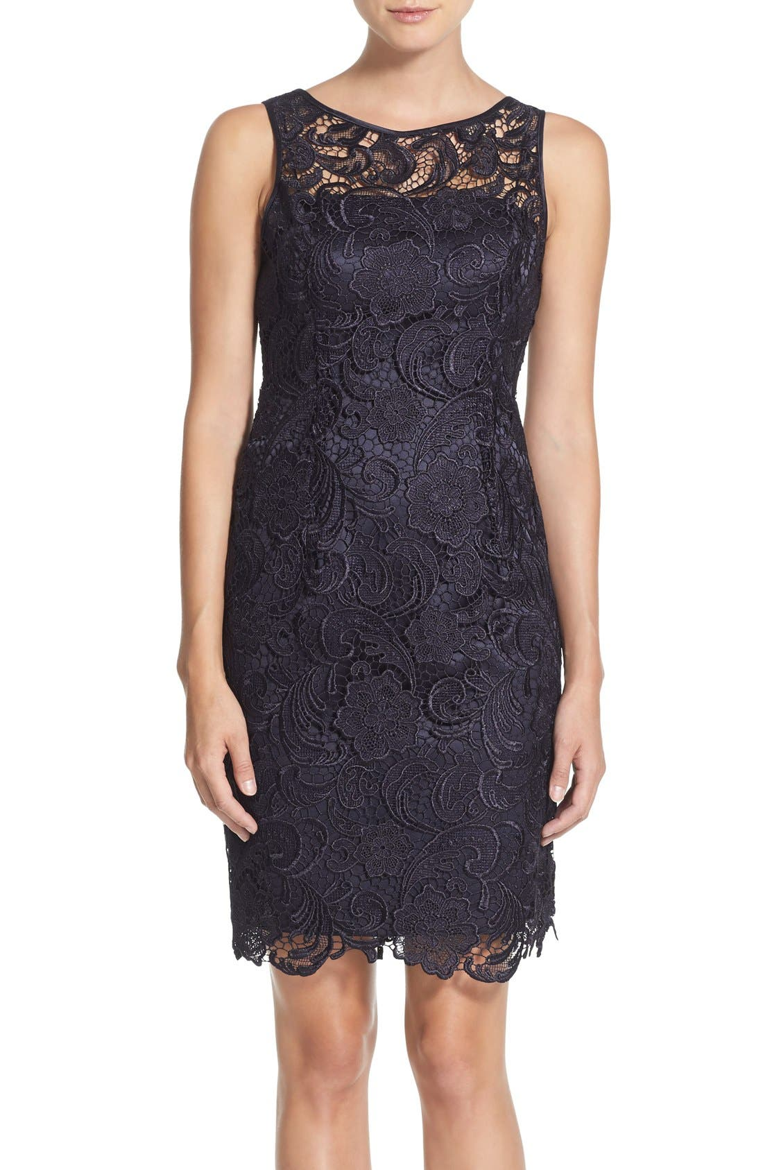 Illusion Bodice Lace Sheath Dress,                         Main,                         color, Navy