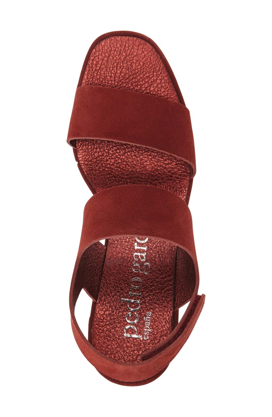 'Fiona' Wedge Sandal,                             Alternate thumbnail 3, color,                             Red Leather