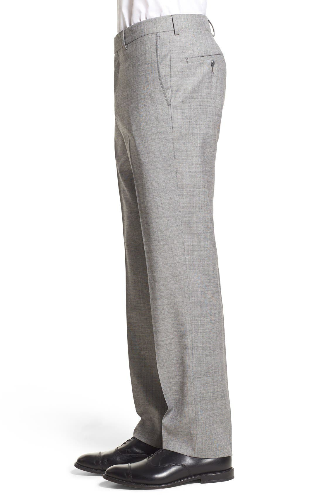 Alternate Image 4  - Nordstrom Men's Shop Flat Front Sharkskin Wool Trousers
