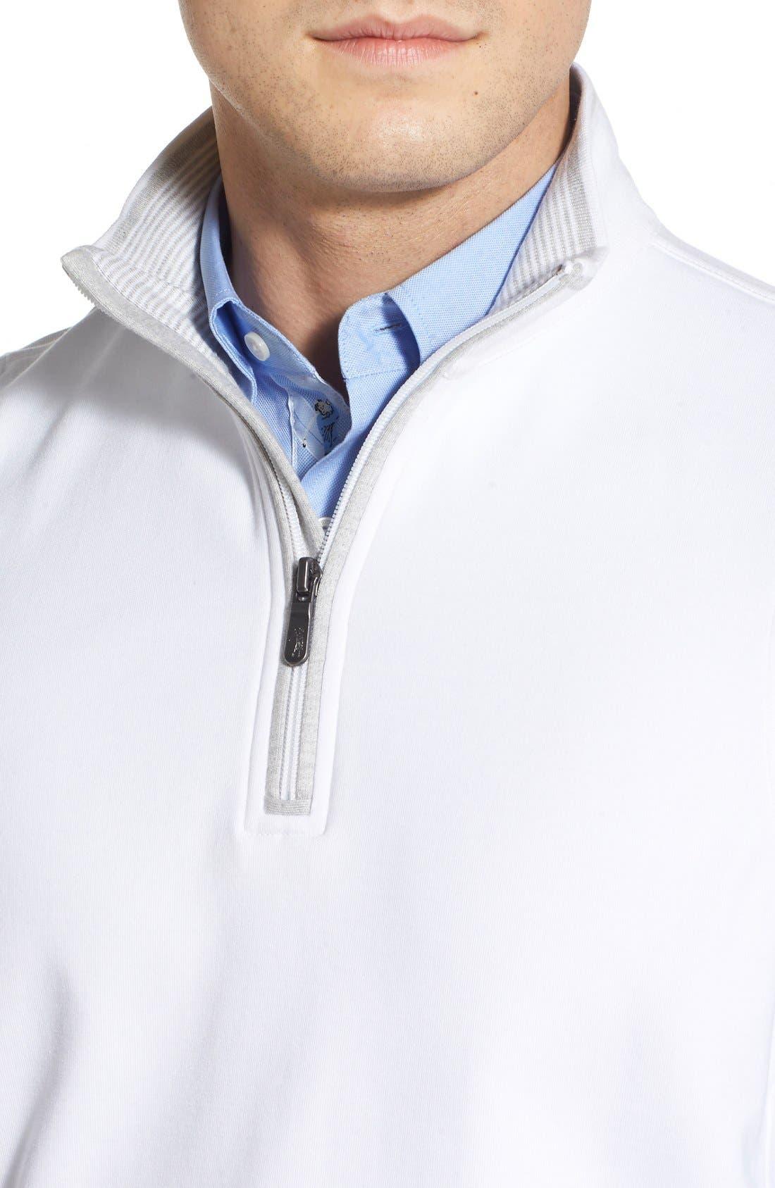Leaderboard Quarter Zip Pima Cotton Vest,                             Alternate thumbnail 4, color,                             White