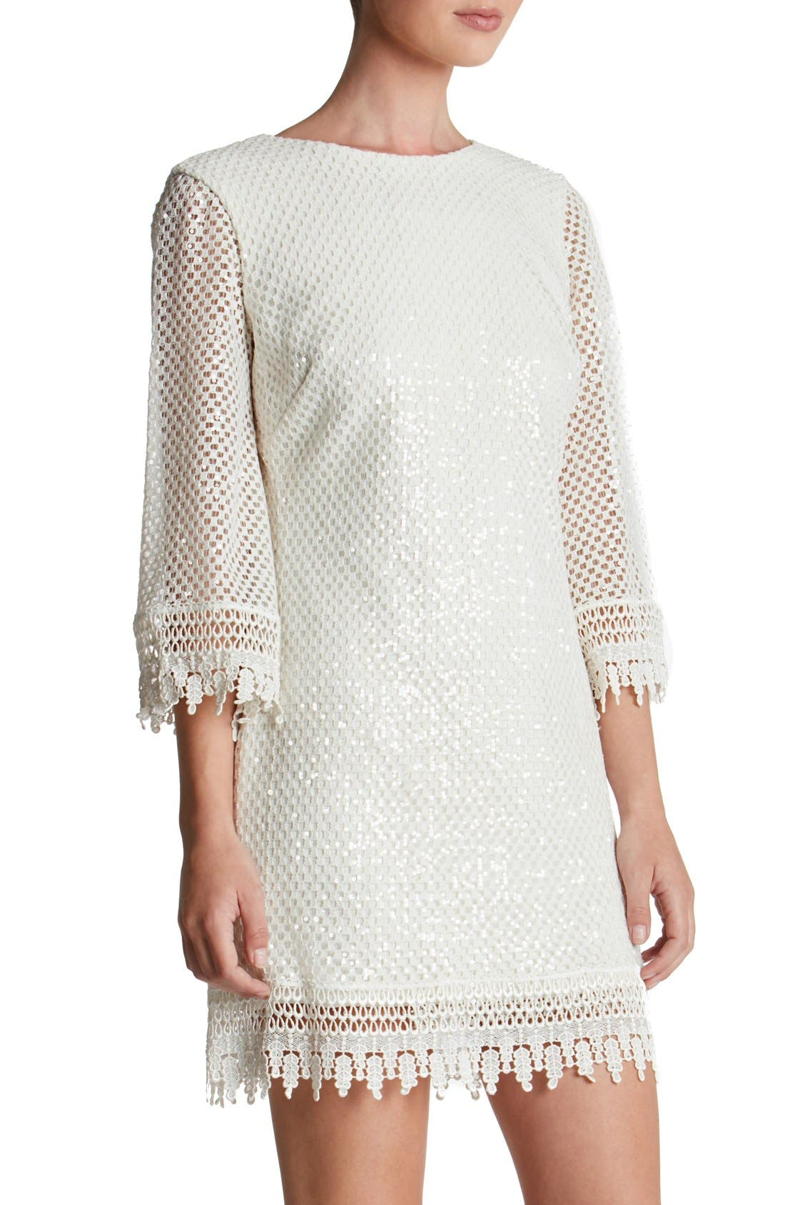 'Phoebe' Sequin Crochet Shift Dress,                             Alternate thumbnail 4, color,                             White