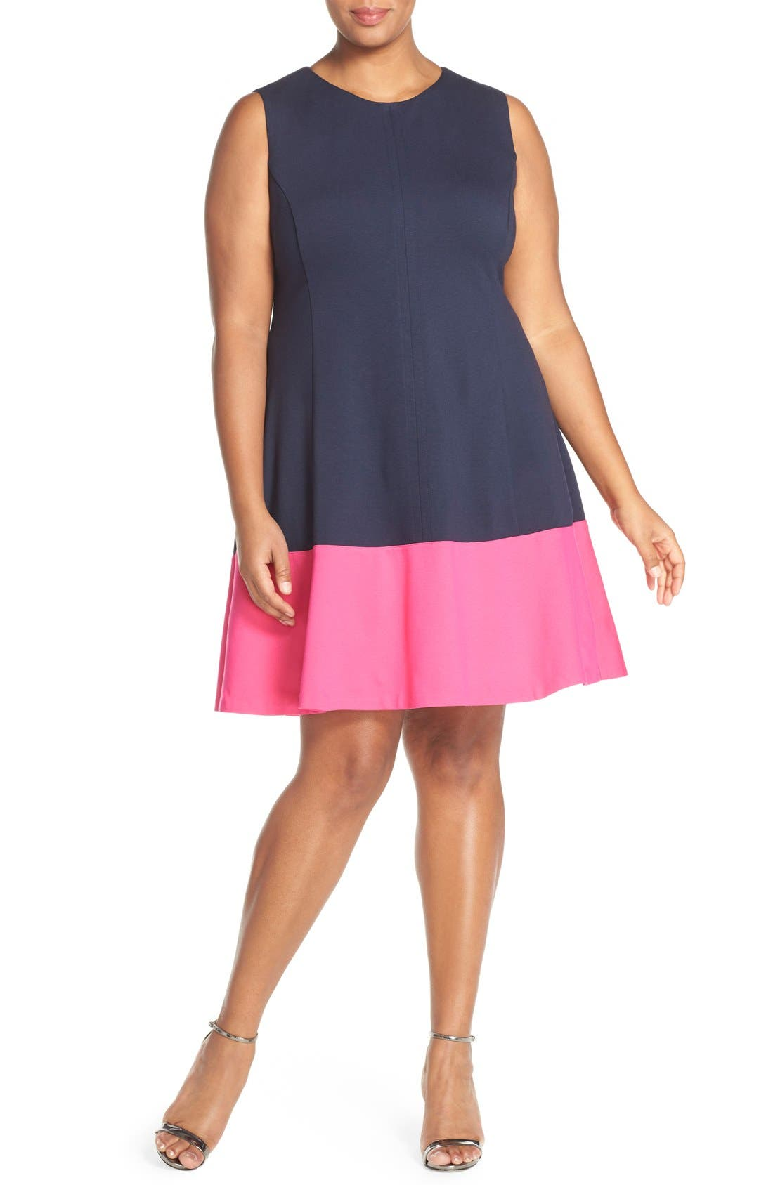 Colorblock Hem Fit & Flare,                             Alternate thumbnail 4, color,                             Navy/ Pink