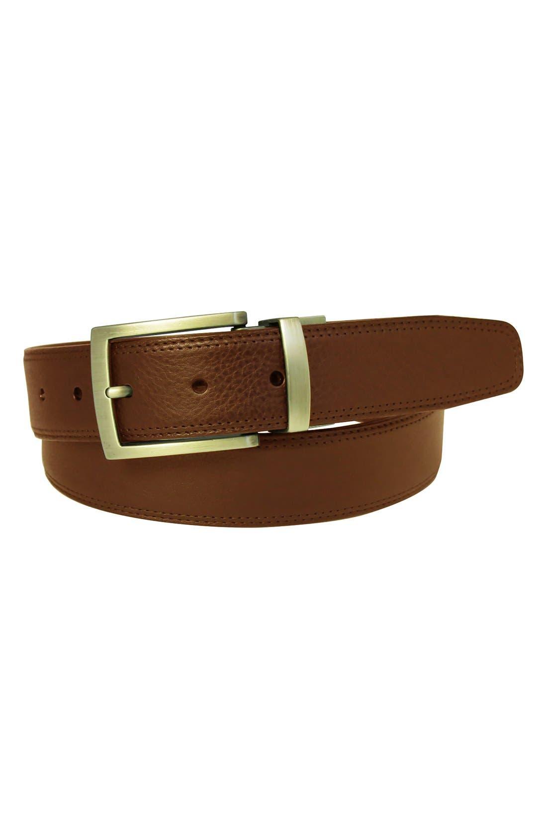 Reversible Leather Belt,                             Alternate thumbnail 3, color,                             Cognac/ Tan