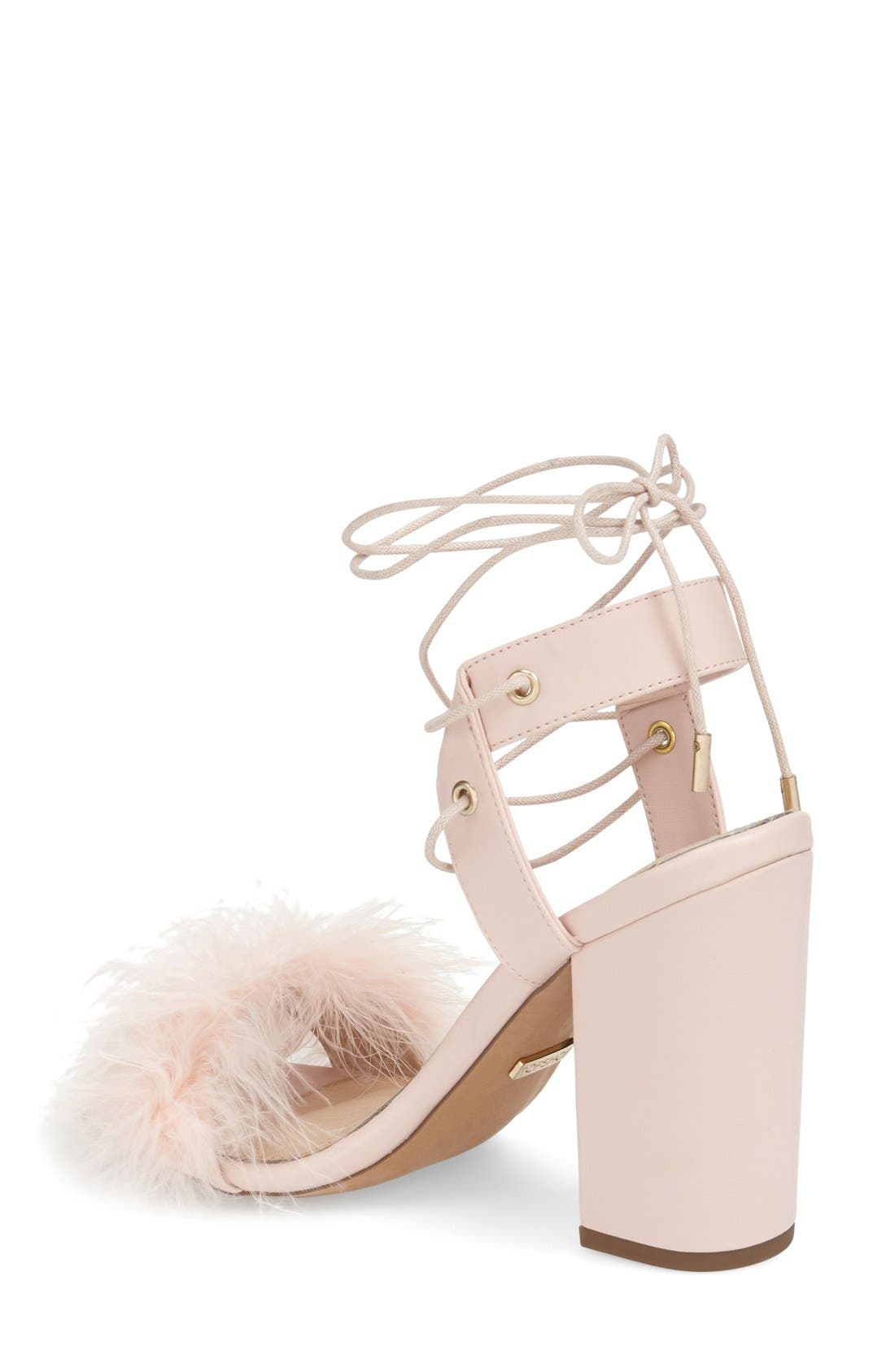 Marabou Feather Lace-Up Sandal,                             Alternate thumbnail 2, color,                             Nude