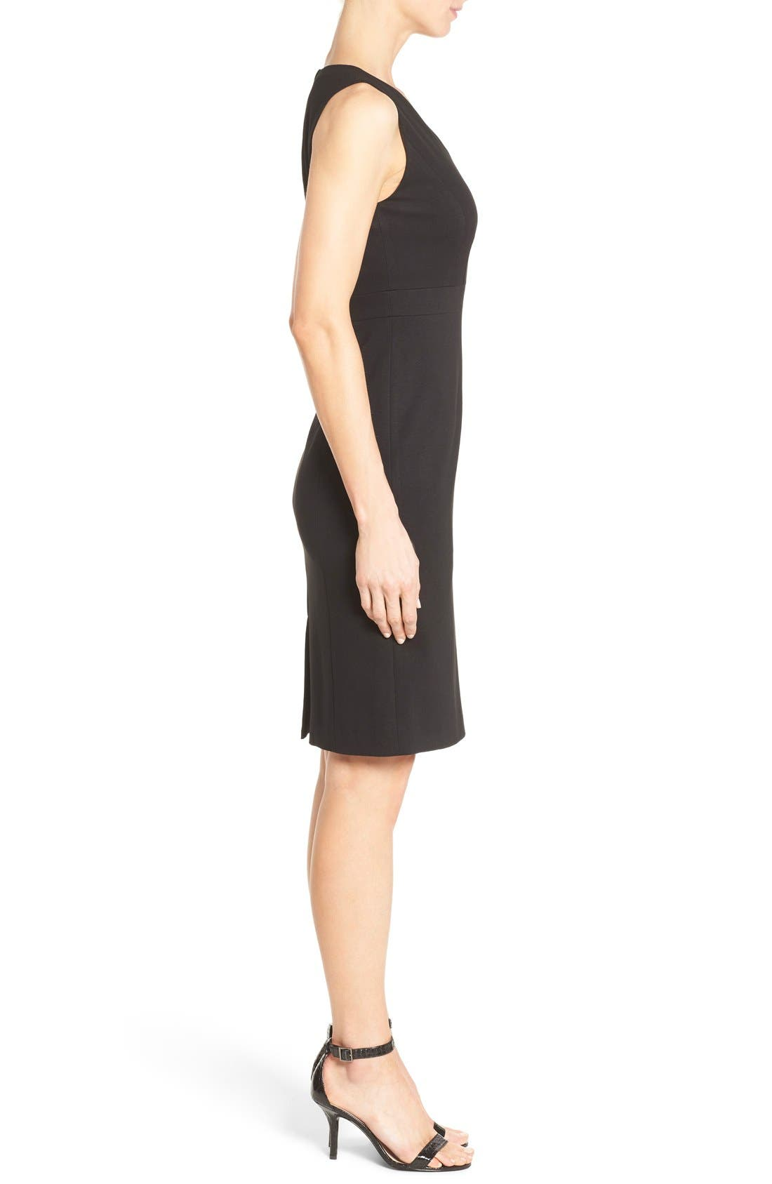 Alternate Image 3  - Classiques Entier® Sleeveless Italian Ponte V-Neck Sheath Dress (Regular & Petite)