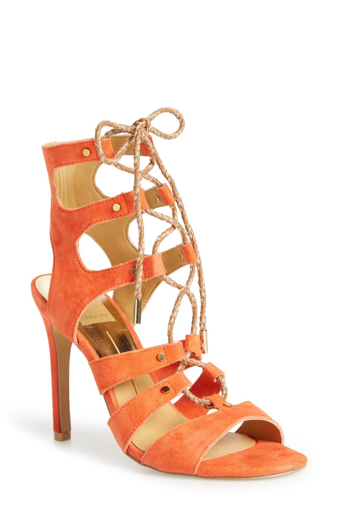 'Howie' Lace-Up Sandal,                             Main thumbnail 1, color,                             Red Orange Suede
