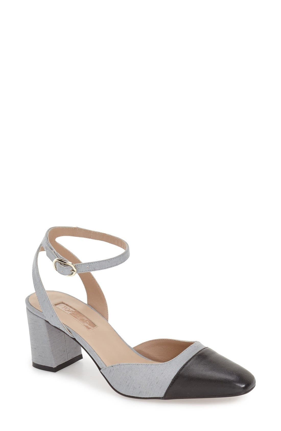 Topshop 'Jewel' Cap Toe Block Heel Pump (Women)