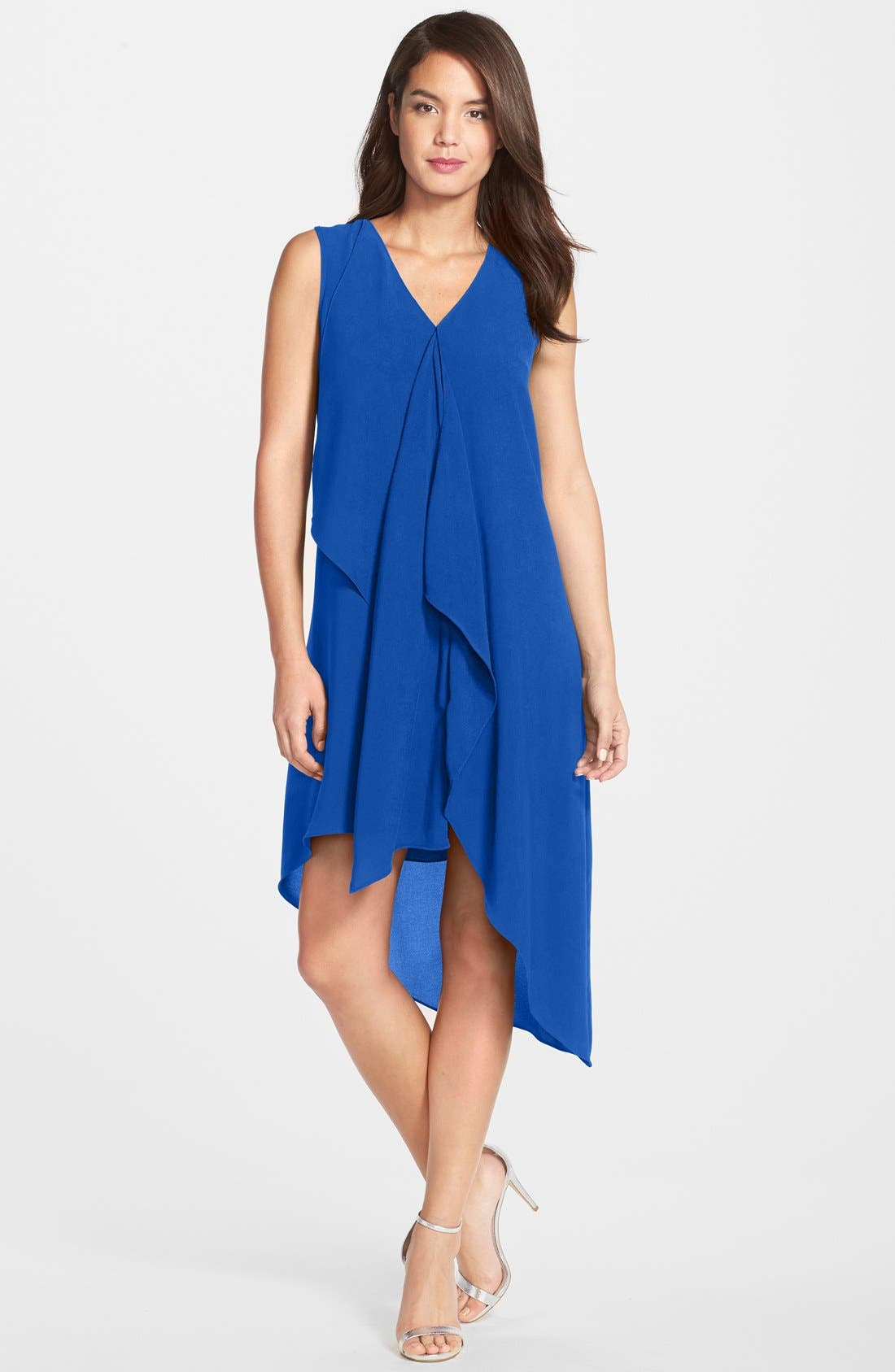 Alternate Image 1 Selected - Adrianna Papell Ruffle Front Crepe High/Low Dress (Regular & Petite)