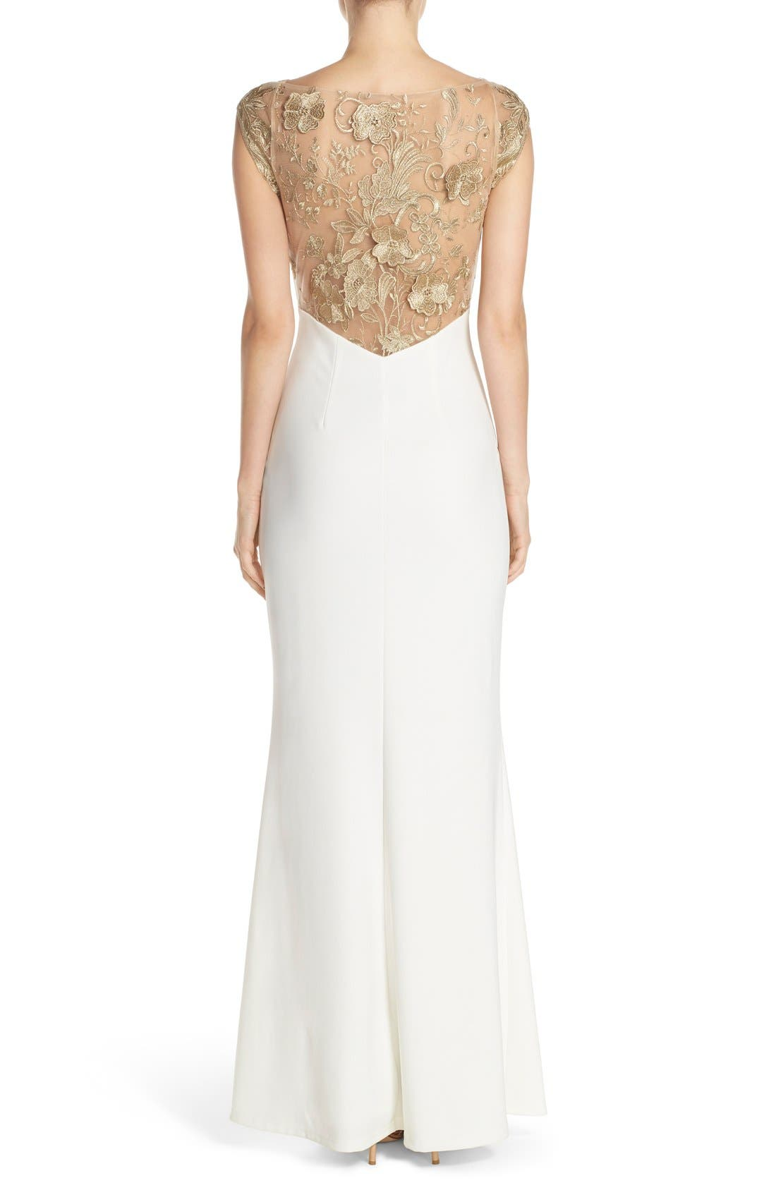 Alternate Image 2  - JS Collections Embroidered Mesh & Ottoman Knit Body-Con Gown