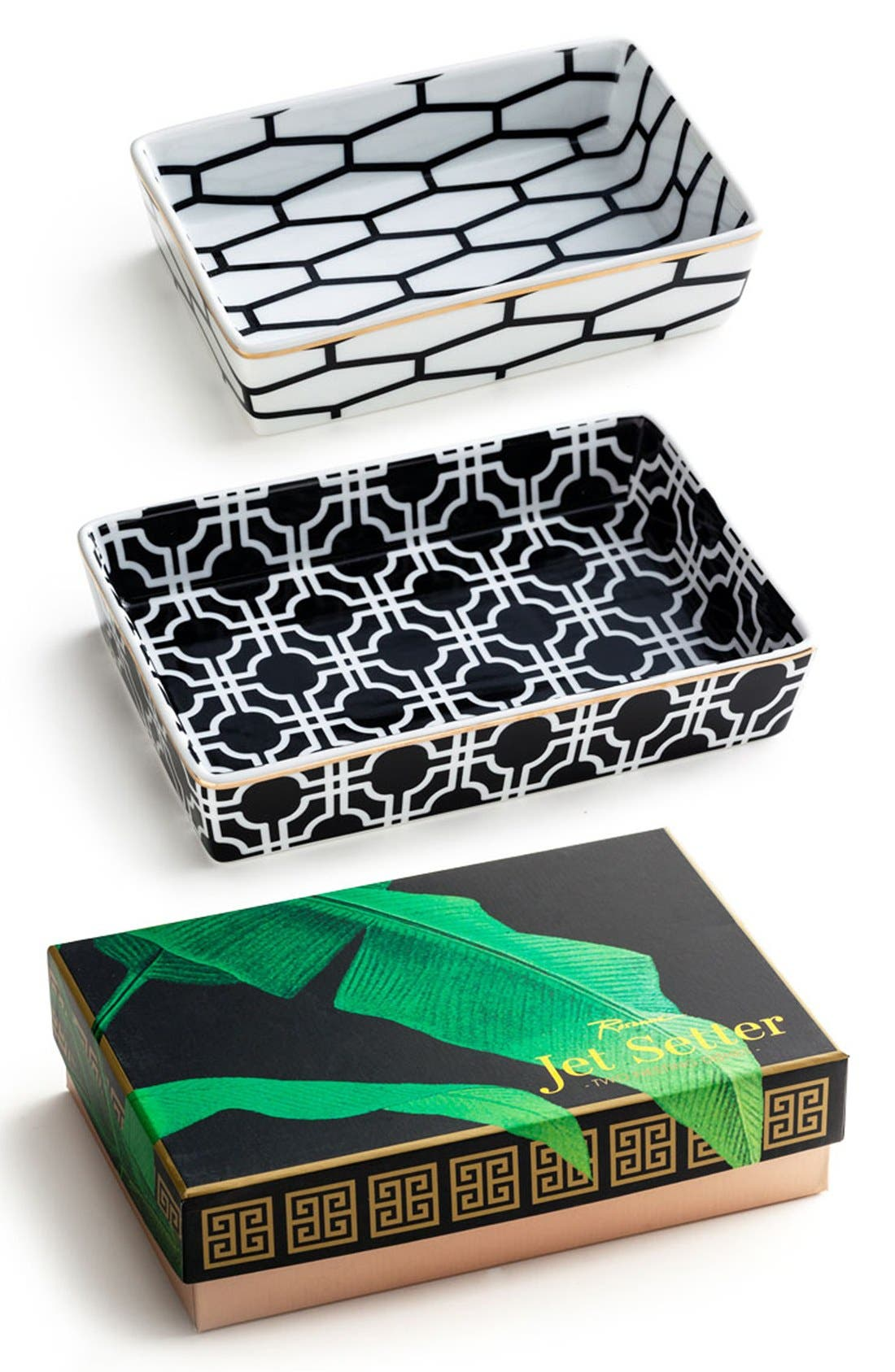 Geometric Nesting Trays,                         Main,                         color, Black
