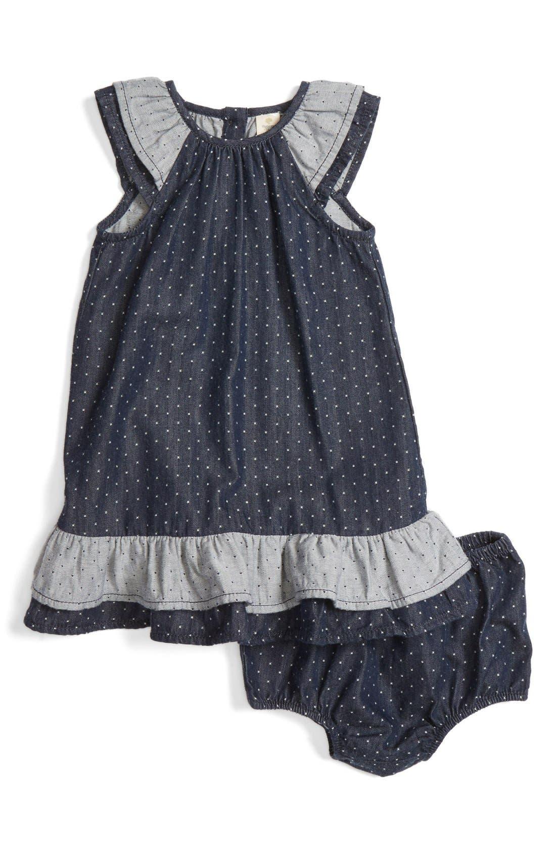 Alternate Image 1 Selected - Tucker + Tate Dot Flutter Sleeve Chambray Dress (Baby Girls)