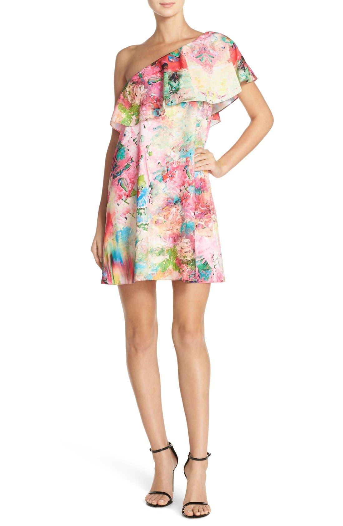 Alternate Image 4  - A by Amanda 'Zoe' Floral Print One Shoulder Dress