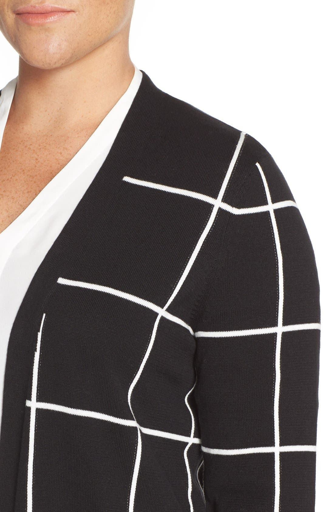 Alternate Image 4  - Vince Camuto Windowpane Intarsia Open Front Cardigan (Plus Size)